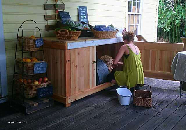 Picture of farmer's market table made from fence boards and recycled materials
