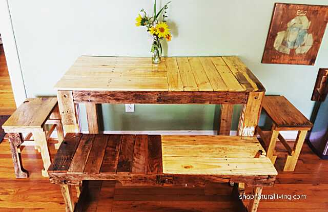 Picture of new cafe seating with custom made pallet wood farm table and benches