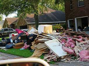 Picture of flood damaged homes after Hurricane Harvey at League City, TX