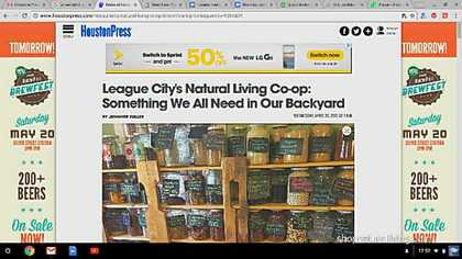 Picture of feature article at Houston Press of Natural Living Vegan Cafe